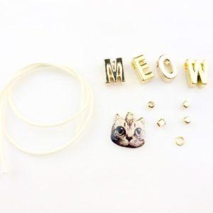 【ハンドメイド無料レシピ】MEOW!MEOW!アルファベットチャームで猫のブレスレット★作り方・ポイント・必要なもの\