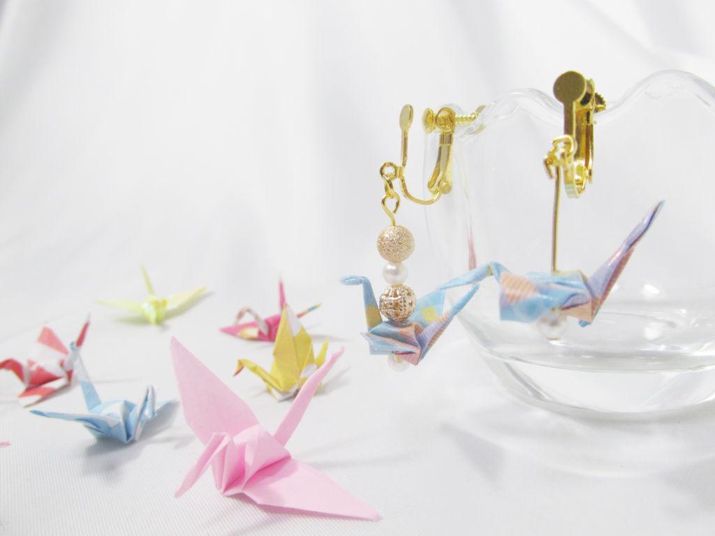 折り紙 アクセサリー !マニキュアで簡単!鶴、紙風船、リボン