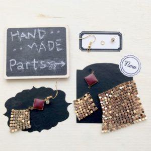 【ハンドメイド無料レシピ】新素材!手触り最高!金属布とレザーコネクターでパーティーピアス\