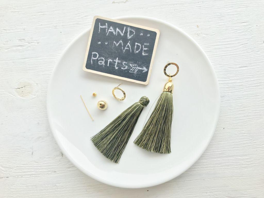 【ハンドメイド無料レシピ】タッセルキャップの使い方!付け方簡単♪ロングタッセルピアスの作り方