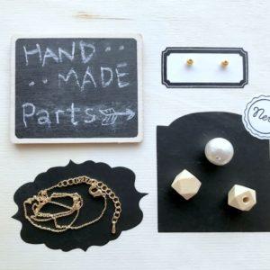 【ハンドメイド無料レシピ】多角形キューブのウッドパーツとコットンパールでカンタン!ネックレスの作り方・必要なもの